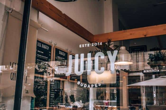 Front window at Juicy, the first stop on budapest food tour