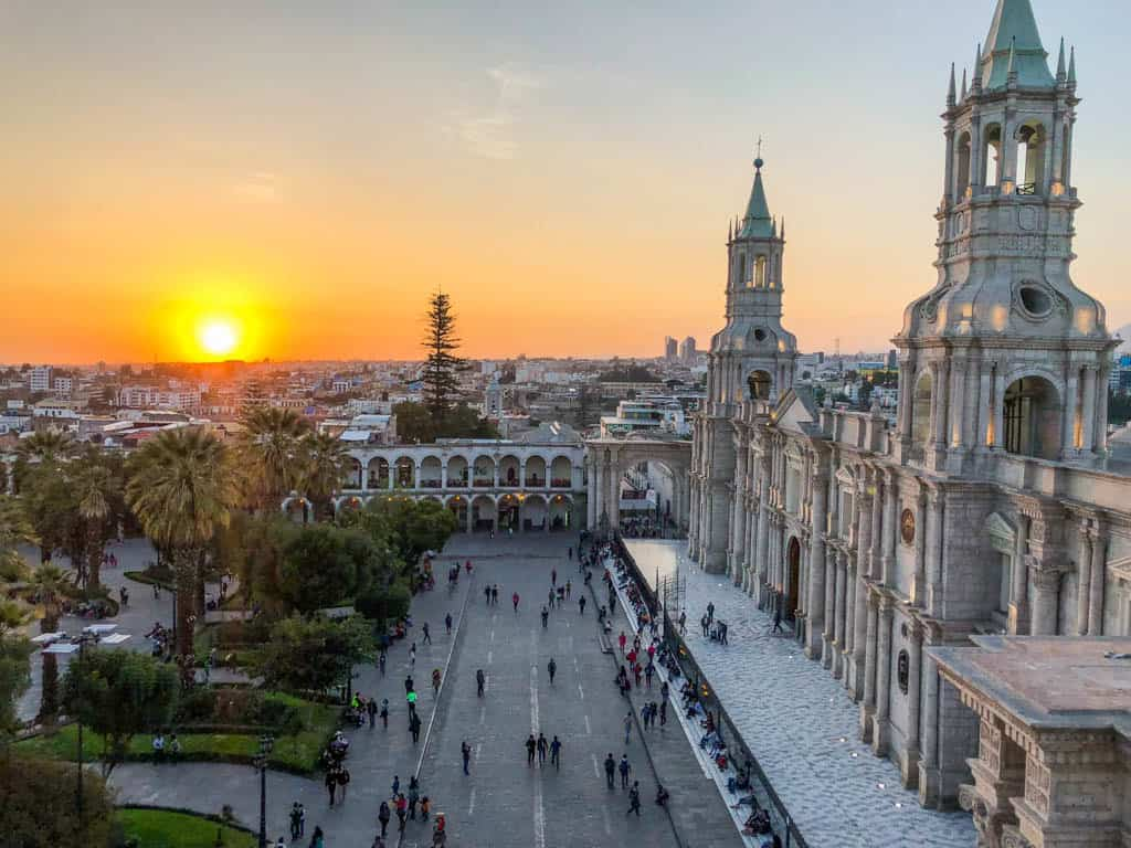 Sunset in the Plaza de Armas in Arequipa