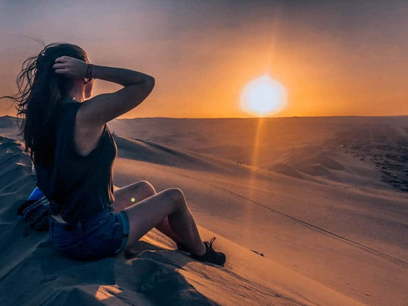 Sunset in the Huacachina Sand Dunes