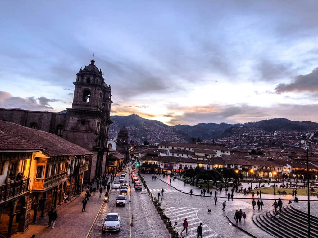 Sunset in Cusco's Plaza de Armas