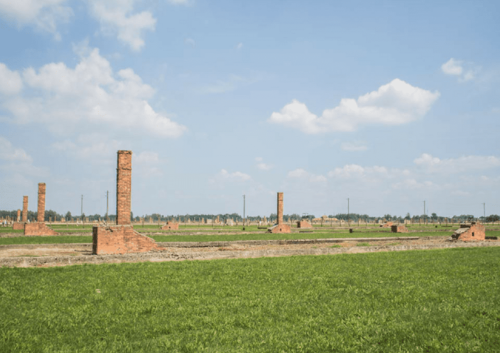 Destroyed barracks at birkenau
