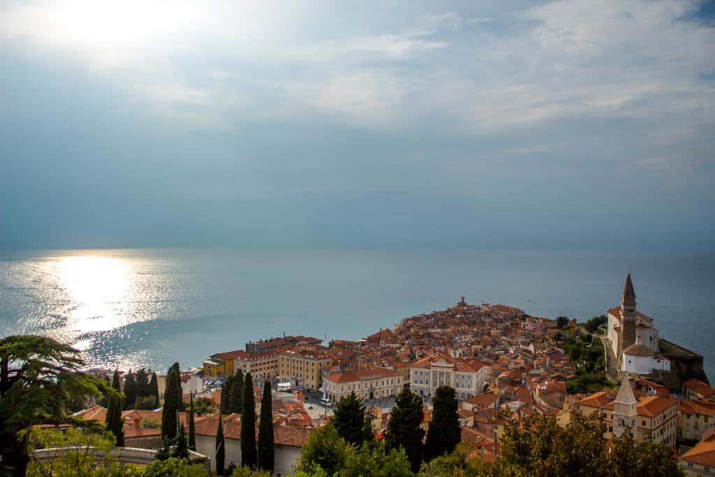 view of Piran from the Old City Walls