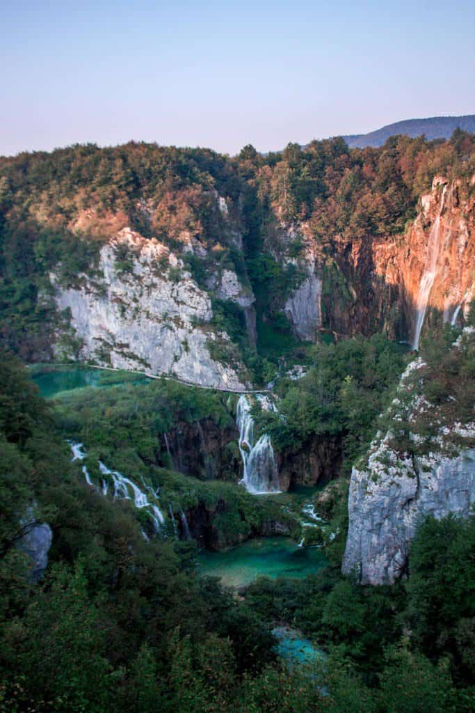 the first view of plitvice lakes national park
