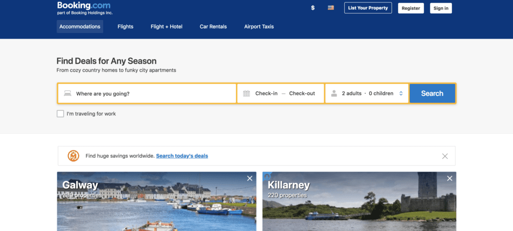 Booking Homepage