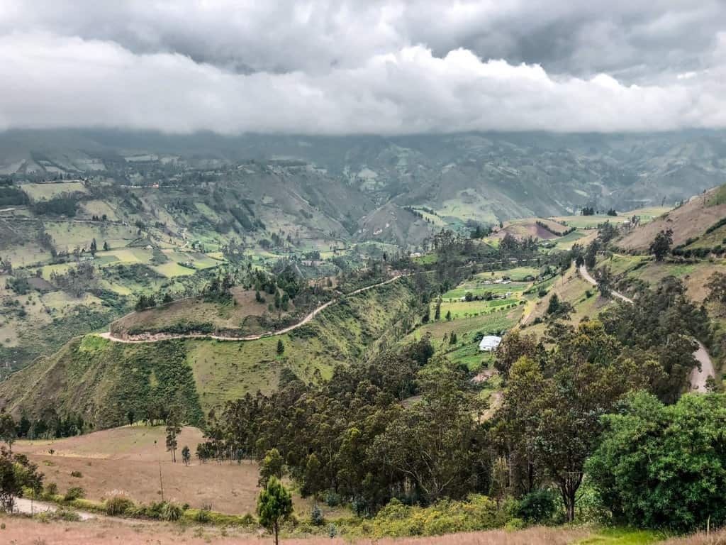 Looking down into the Andes valley