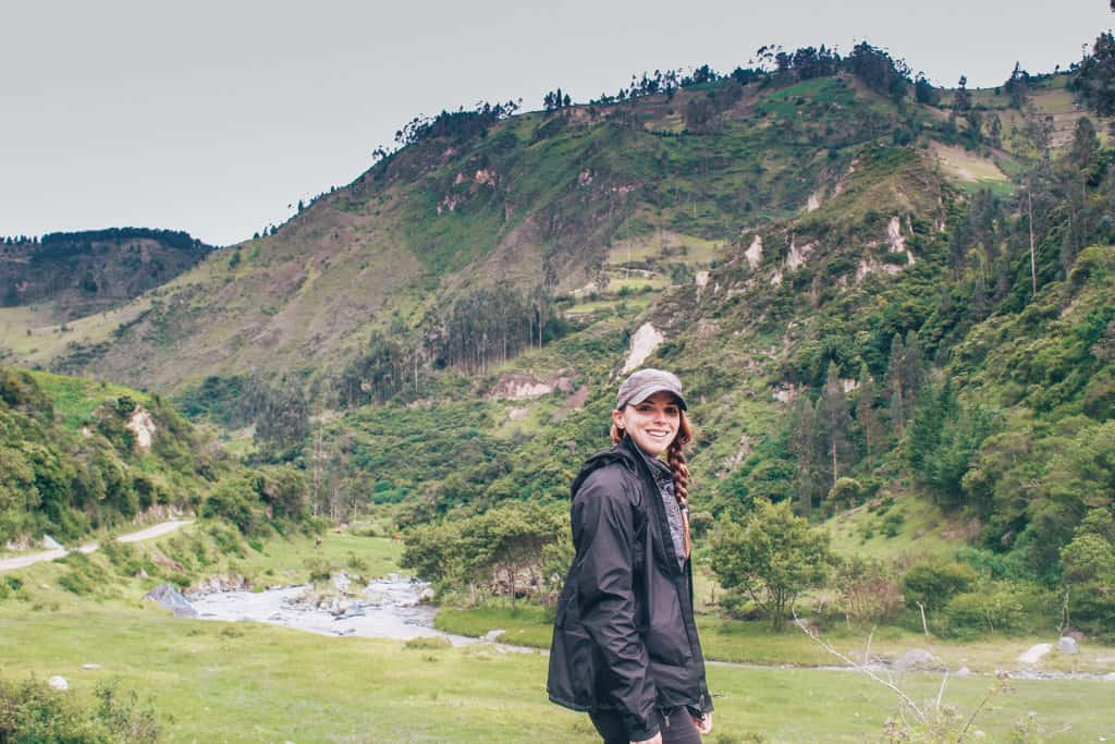 Day 1 of hiking the quilotoa loop. Me along the banks of a river.