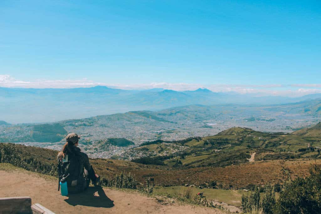 View of Quito from the top of the Teleferico