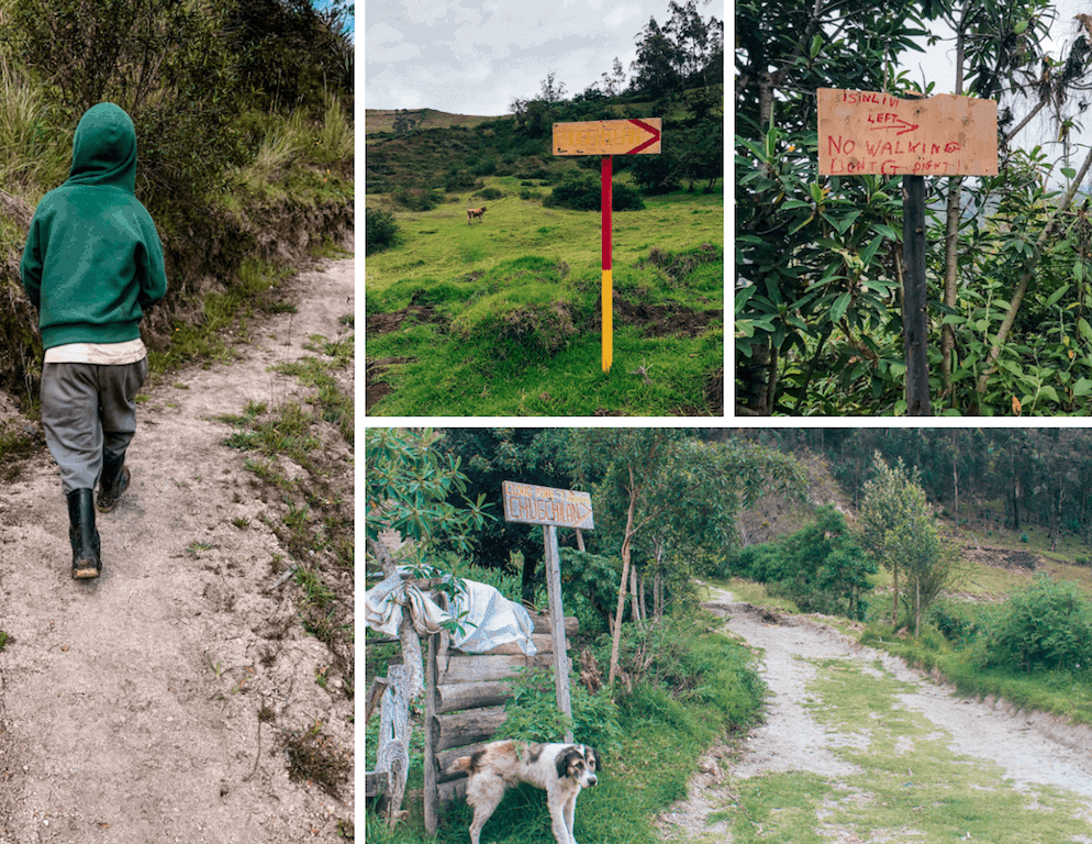 Many sign posts and locals to prevent you from getting lost on the quilotoa loop