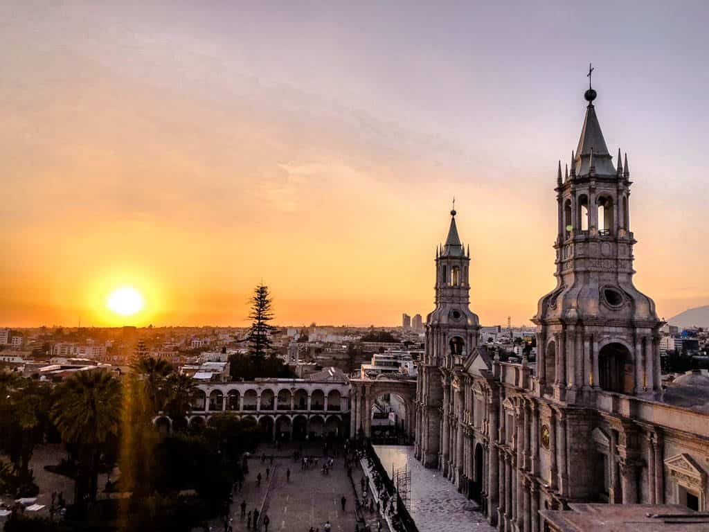 sunset over plaza de armas in Arequipa