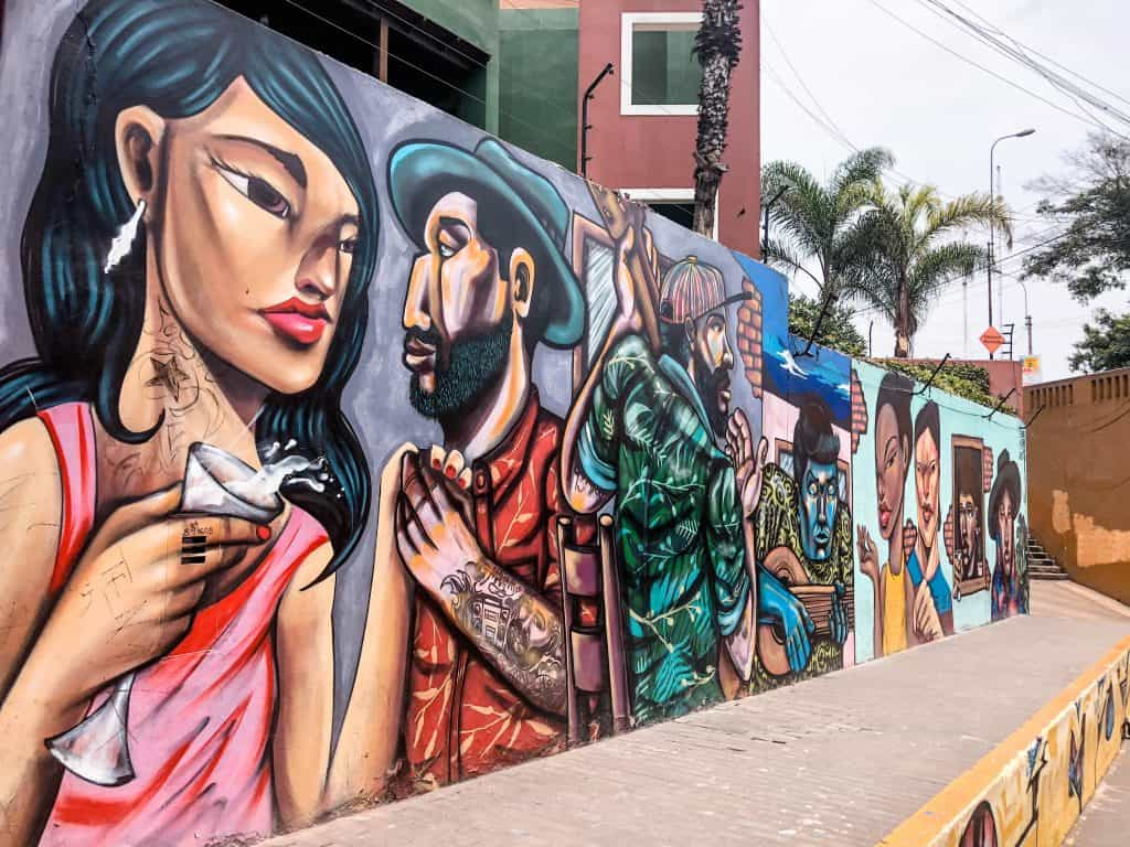 Street art in Barranco in Lima Peru