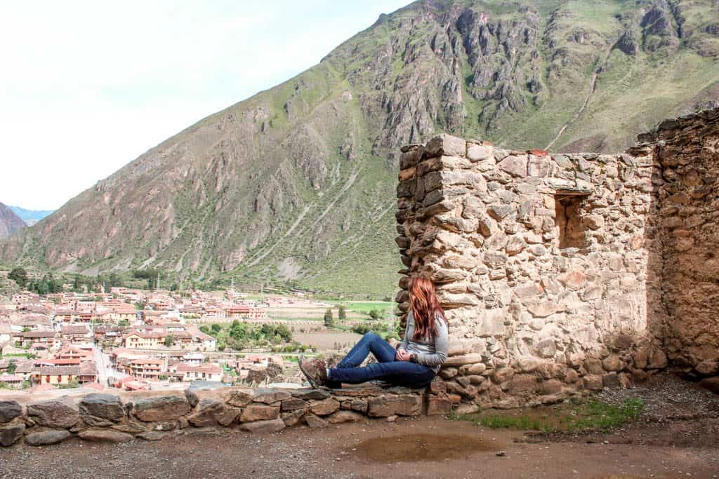 Looking out over Ollantaytambo from one of the Incan buildings