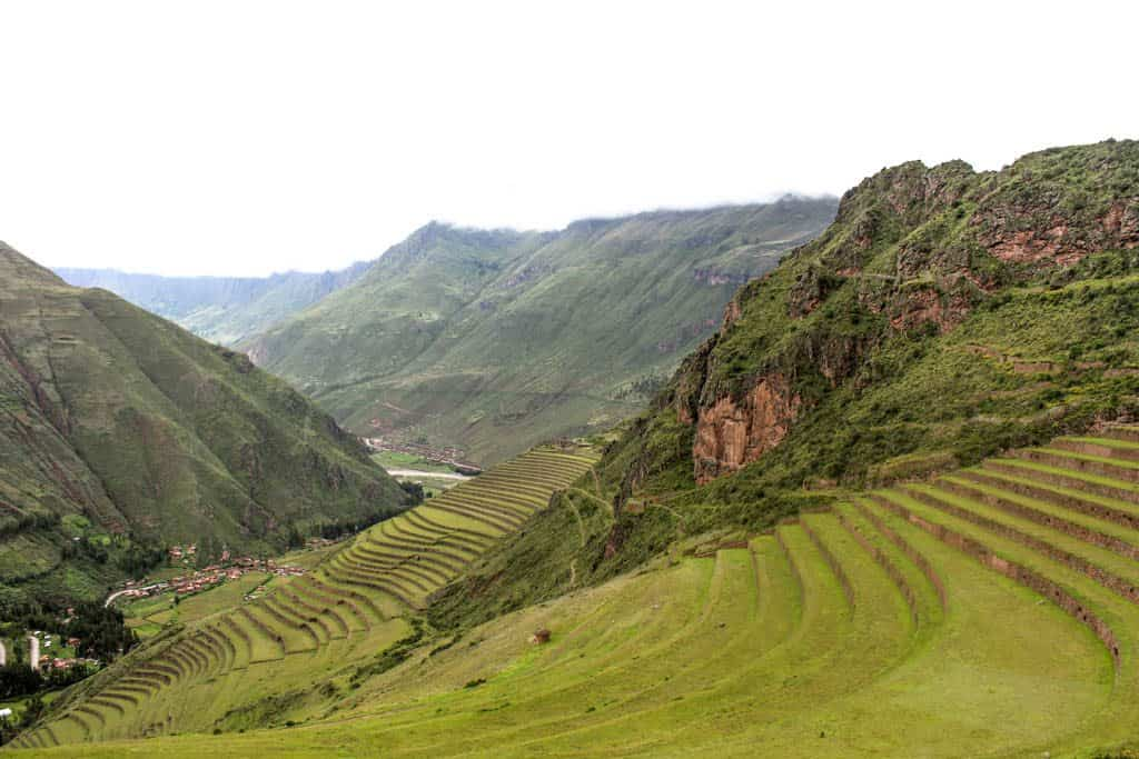 The agricultural terraces of Pisaq in the Sacred Valley on a day trip from Cusco