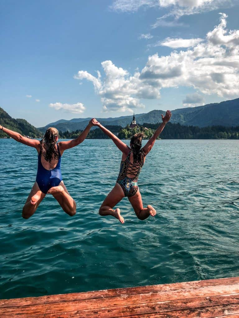 Jump in the waters of Lake Bled