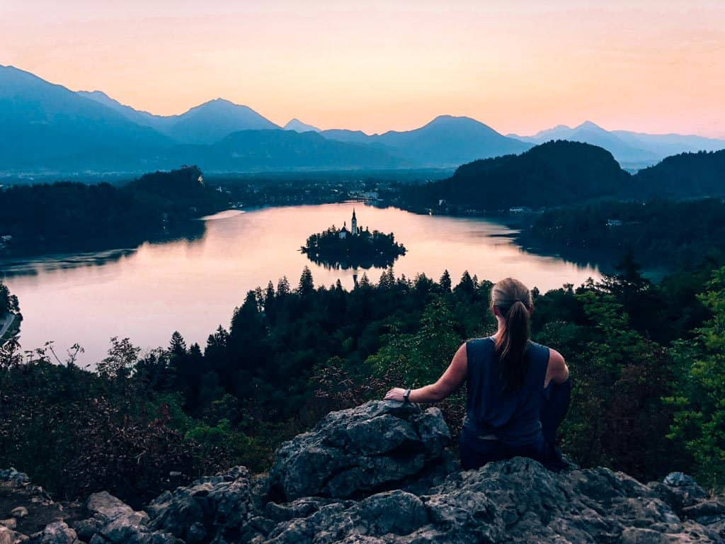 The best things to do in Lake Bled is a sunrise hike over the lake