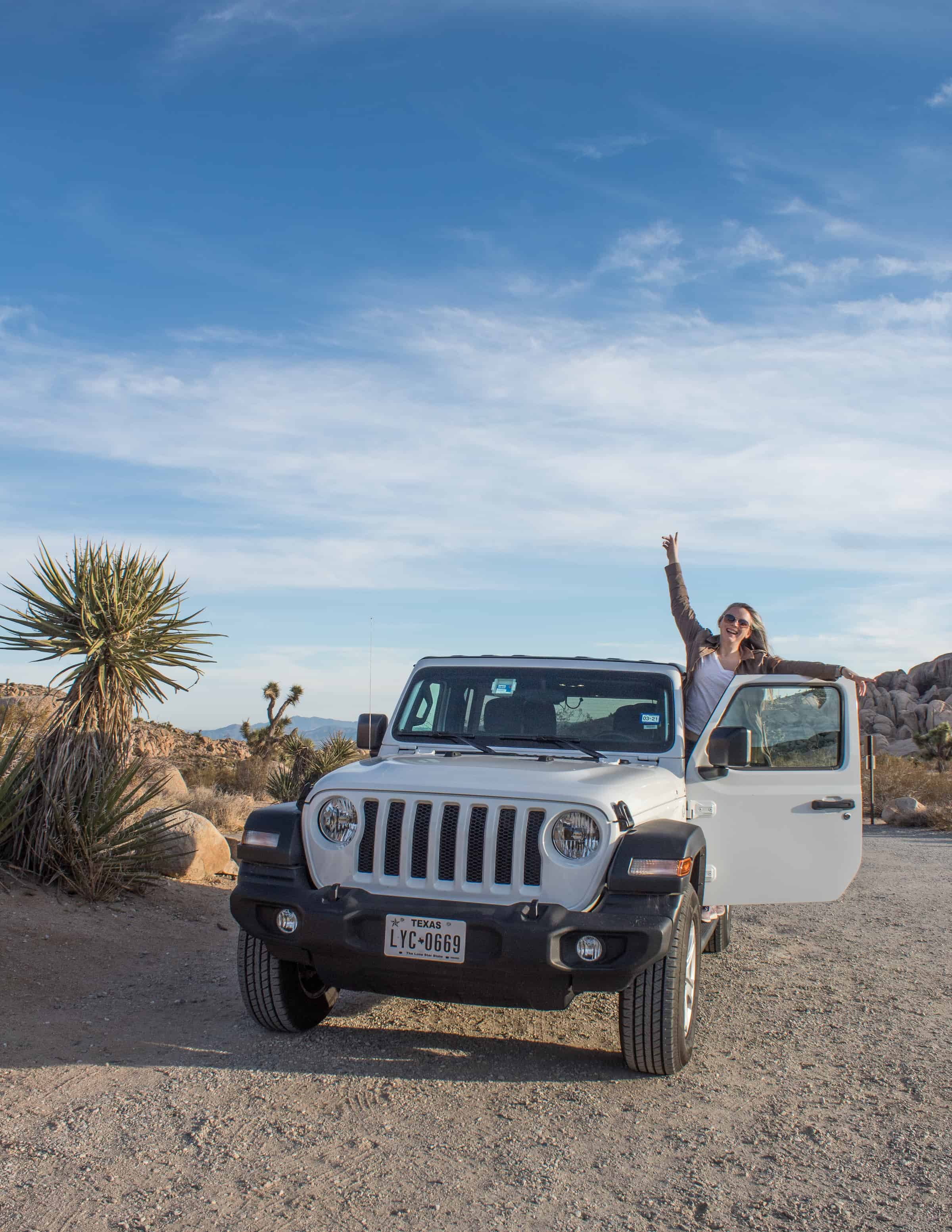 Me with white Jeep in Joshua Tree National Park