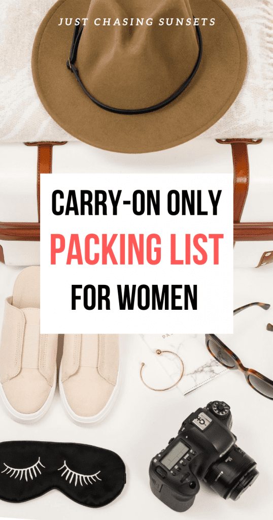 Carry on only packing list for women