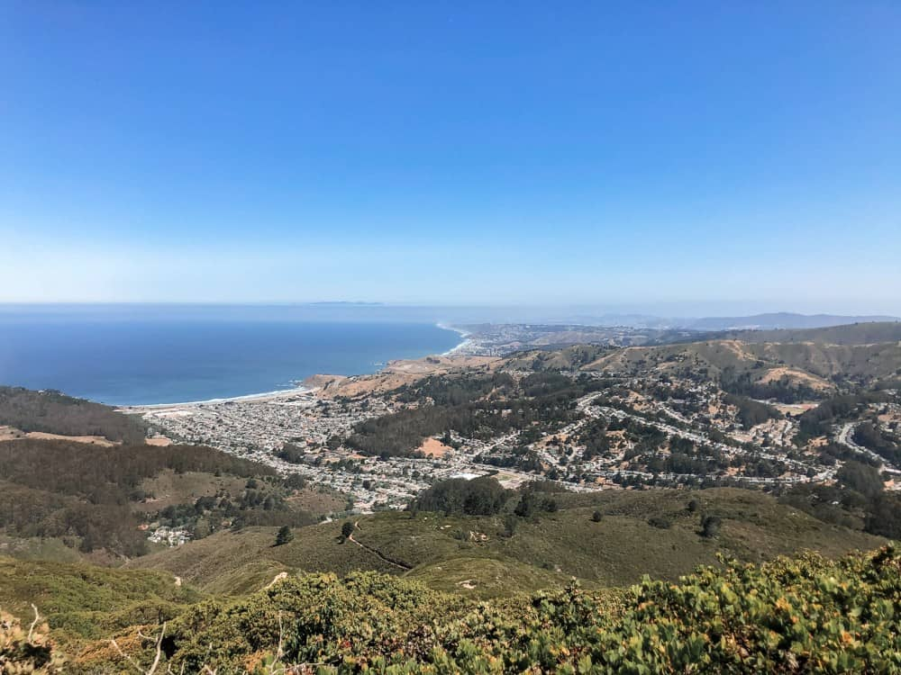 View of Pacifica from North Peak Access Trail on Montara Mountain in Half Moon Bay, CA