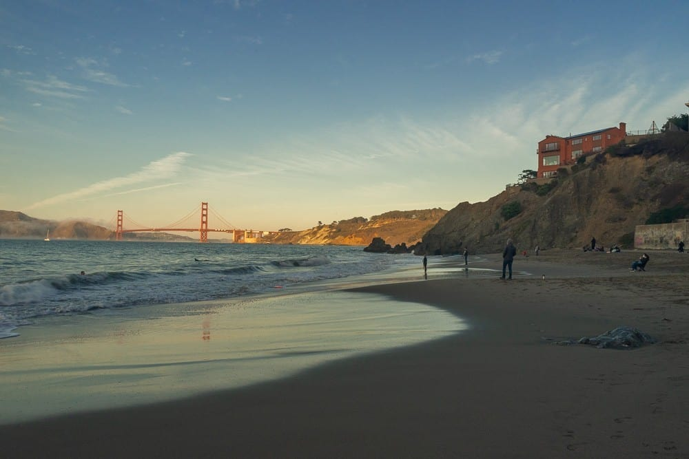 China Beach front with views of the Golden Gate Bridge