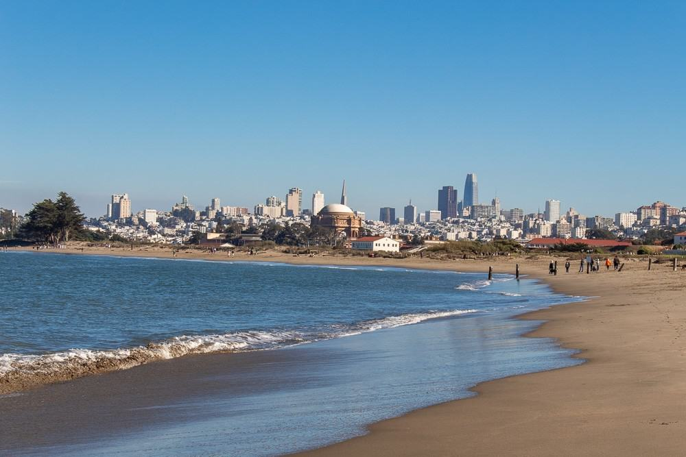 Crissy Beach with view of San Francisco Skyline