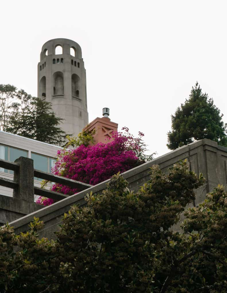 Staircase with bright flowers leading to Coit Tower