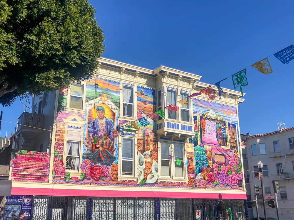 Colorful building in Mission neighborhood San Francisco, CA