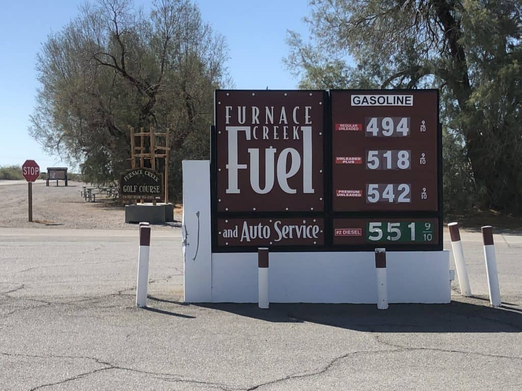 Furnace Creek Gas station in Death Valley