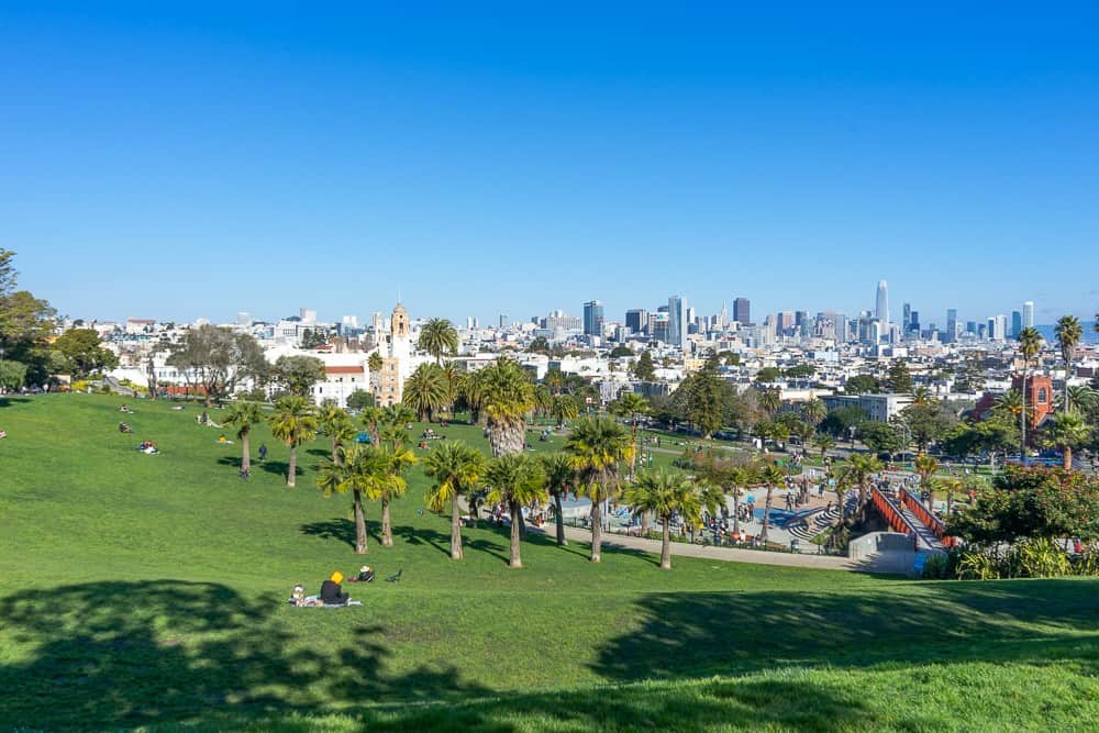 Mission Dolores Park with San Francisco Skyline in the distance.