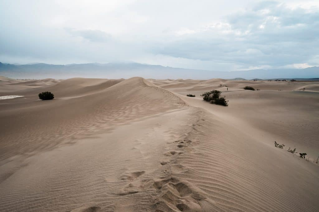 Mesquite Flat Sand Dunes at sunrise in Death Valley.