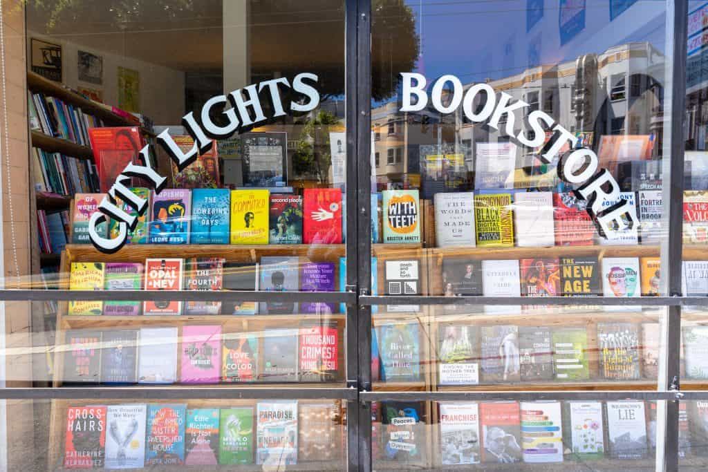 City Lights Booksellers store front in North Beach, San Francisco, CA