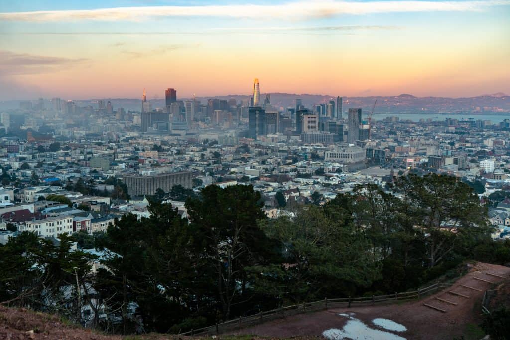 Sunset over San Francisco from Corona Heights Park