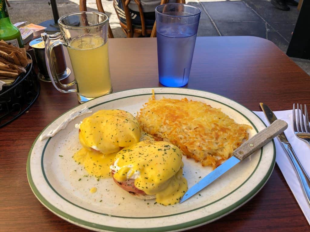 Eggs Benedict and a mimosa from Fred's Place in Sausalito